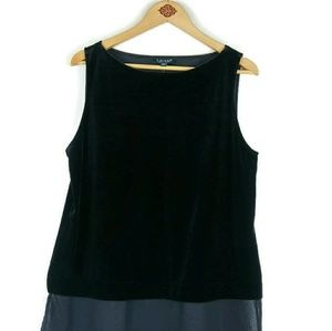Ralph Lauren  Black Velvet Illusion hem TunicTop